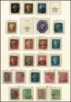 Lot 455 [1 of 6]:1840-1951 Collection in Schaubek hingeless album incl 1840 1d black (3), 1847-54 6d (2), 10d & 1/-, good selection of Surface Printed incl 1867-80 2/- blue, 1867 Wmk MC 5/- Pl.2, Wmk Anchor White paper 5/- (Pl.4), 10/-, 1883-84 2/6d, 5/- & 10/-, 1884 Wmk Three Imperial Crowns £1 brown-lilac, 1883 or 1884 to 1/-, KEVII 1902 ½d to £1 green (ex 10/-), KGV 1913-19 Seahorses incl 2/6d (2), 5/- (3), 10/-, many lower values, 1934 Seahorses (3), 1939-48 High values (6), 1948 Wedding (2, MLH), few Officials incl QV Govt Parcels 2d No dot under 'T', 6d, 9d, 1/- (both), KEVII Inland Revenue 1/-, Office of Works 1d, Postage Dues various issues to 2/6d. The catalogue value of these stamps is extremely high. The condition of the QV-KGV period is extremely mixed. (100s)