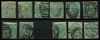 Lot 449 [2 of 2]:1855-57 1/- Green (2), 1862-64 1/- (2), 1867-80 1/- Pl 4, Pl 6, 1873-80 1/- Pl 9, 11 &12. Cat £2,000+. Mixed condition.150. (12)