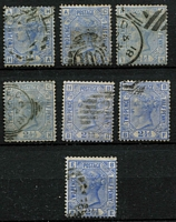 Lot 451 [2 of 2]:1873-80 2½d Blue Pl 17-20 (2 each), 1880-83, Pl 22 (3), Pl 23 (3). Cat £650+. Mixed condition. (14)