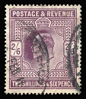 Lot 454 [1 of 2]:1883-84 2/6d lilac (2), 5/- rose (2). KEVII 2/6d (3), 5/-, very presentable examples, several minor faults. Cat £1,470+. (8)