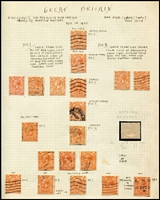 Lot 457 [1 of 4]:1912-51 Collection on annotated leaves incl 1912-24 1d with many shades identified, 2d orange incl several 'wmk inverted' & one with partial 'misplaced wmk', KGVI incl 1937-47 ½d to 2½d with wmk inv (5), wmk s/ways (5), various later with wmk s/ways or inv, 1939-48 High Values (6), 1948 Wedding £1, 1951 Festival High Values (2 sets). etc. (170+)