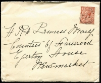 Lot 455 [2 of 2]:1930-37 Covers addressed to 'H.R.H. Princess Mary, Countess of Harewood, Harewood House, Leeds' (from Ethel Fenn or A. Wilson in GB) or a 1937 Mourning envelope to 'H.R.H. The Princess Royal' (from her cousin 'Don' in Germany) all with correspondence. Mixed condition. (6 items)
