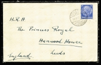 Lot 455 [1 of 2]:1930-37 Covers addressed to 'H.R.H. Princess Mary, Countess of Harewood, Harewood House, Leeds' (from Ethel Fenn or A. Wilson in GB) or a 1937 Mourning envelope to 'H.R.H. The Princess Royal' (from her cousin 'Don' in Germany) all with correspondence. Mixed condition. (6 items)