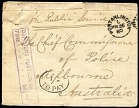 "Lot 482 [1 of 7]:1842-1900 Group incl 1842 'Free' outer Nottingham to Barnstaple, later covers incl 1883 Portarlington (Ireland) to Chief Commissioner of Police, Melbourne with mss ""On Public Service"" alongside boxed 'DEFICIENT POSTAGE 6d/FINE...6d }1/-' in purple and '1/-/TO PAY'in oval, selvegde repair at top, several covers to Paris, 1892 to Australia much re-directed cover with numerous 'NOT KNOWN/BY LETTER CARRIERS...' markings, etc. Mixed condition (17)"