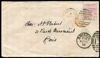 Lot 467 [1 of 6]:1846-1980 Group incl few 1d red Stars (2), Letters (5), 1878 cover to Paris with 2½d Pl. 12 tied by Thornbury duplex alongside part Bristol duplex, Paris backstamp, 1929 PPC with PUC 1½d, KGV 9d on 1931 airmail cover to South Africa 1933 Airmail cover to Brazil with 6d, 1/- (3, incl a pair) all perfin 'R&Co', arrival cds on reverse, 1937 Coronation 1½d block of 4 on registered FDC to USA, 1980 cover with 'REGISTERED/BUCKINGHAM PALACE S.W.1.' oval date stamp to Malta. Mixed condition. (19 items)
