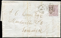 Lot 423 [1 of 2]:1859 (1 Jan) Entire to Jamaica with 1855-57 6d lilac tied by London F.C. duplex, Kingston & Mandeville (b/s). Cat £240 on cover.