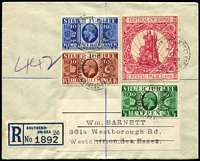 Lot 483 [2 of 6]:1893-2000s Registered Mail accumulation, some stationery items with several covers from well known British stamp dealers, many covers are also FDCs, 1935 Jubilee ½d, 1½d & 2d alongside 1911 Festival of Empire red label on plain FDC, 1936 (1 Sep) KEVIII set of 3 on reg illustrated FDC, 1952 reg cover to Australia with KGVI 6d & Festival 10/- strip of 3 all perfin 'IL' (Ilford), some labels perforated others peel & stick type. Mixed condition. (120+)