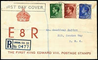 Lot 483 [3 of 6]:1893-2000s Registered Mail accumulation, some stationery items with several covers from well known British stamp dealers, many covers are also FDCs, 1935 Jubilee ½d, 1½d & 2d alongside 1911 Festival of Empire red label on plain FDC, 1936 (1 Sep) KEVIII set of 3 on reg illustrated FDC, 1952 reg cover to Australia with KGVI 6d & Festival 10/- strip of 3 all perfin 'IL' (Ilford), some labels perforated others peel & stick type. Mixed condition. (120+)