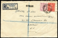 "Lot 469 [2 of 9]:1902-90s Cover Accumulation incl 1902 1d stationery envelope uprated 1½d to Germany, 1931 Airmail to Chile with 4/0½d, 1935 cover to Chile with 1/9d & mss ""Via New York"", 1936 perfin cover to Venezuala wth KGV 1½d pair & 6d strip of 3 perfin 'B./W.', 1952 registered letter from 'KING EDWARD VII SANATORIUM, TALGARTH' (Wales), 1966 cover with KGVI 3d orange bisected diagonally and QE 3d tied to cover, range of pictorial postmarks, several different House of Commons pmks, few plain FDCs, etc. (Approx 70 items)"