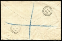 "Lot 469 [3 of 9]:1902-90s Cover Accumulation incl 1902 1d stationery envelope uprated 1½d to Germany, 1931 Airmail to Chile with 4/0½d, 1935 cover to Chile with 1/9d & mss ""Via New York"", 1936 perfin cover to Venezuala wth KGV 1½d pair & 6d strip of 3 perfin 'B./W.', 1952 registered letter from 'KING EDWARD VII SANATORIUM, TALGARTH' (Wales), 1966 cover with KGVI 3d orange bisected diagonally and QE 3d tied to cover, range of pictorial postmarks, several different House of Commons pmks, few plain FDCs, etc. (Approx 70 items)"