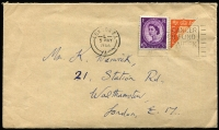 "Lot 469 [1 of 9]:1902-90s Cover Accumulation incl 1902 1d stationery envelope uprated 1½d to Germany, 1931 Airmail to Chile with 4/0½d, 1935 cover to Chile with 1/9d & mss ""Via New York"", 1936 perfin cover to Venezuala wth KGV 1½d pair & 6d strip of 3 perfin 'B./W.', 1952 registered letter from 'KING EDWARD VII SANATORIUM, TALGARTH' (Wales), 1966 cover with KGVI 3d orange bisected diagonally and QE 3d tied to cover, range of pictorial postmarks, several different House of Commons pmks, few plain FDCs, etc. (Approx 70 items)"