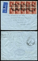 "Lot 446 [1 of 5]:1936 KEVIII accumulation incl (1 Sep) 7 sets on plain FDCs, plus ½d (4 covers), 1½d (2 covers) and 2½d, (14 Sep) 1d red 2 covers plus group of later covers (37) all with KEVIII issues incl several perfins on proving covers, 'CPA' (Calico Printers' Assoc) to Australia, 'QI/Co Ld' (Queensland Insurance Co Ltd) on 1½d block of 10 to Australia, few covers to USA, two endorsed ""NORMANDIE"" or ""EUROPA"". Very mixed condition. (50+)"