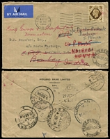 Lot 447 [3 of 9]:1937-53 Group incl selection of seamail & airmail rates to Australia to 5/-, & USA, perfin covers incl 'CPA' (Calico Printers' Assoc), 'SH/L' (S.H. Lock), few 'British Industries Fair' slogans, taxed covers (2, one British Due, one French Dues), 1939 Maiden Voyage of 'MAURETANIA' special cover with cachet, WWII Censored covers to Canada, Ireland (8) & USA (17) plus 4 inward Censored covers to Australia, 1948 cover to Nauru (b/s) and forwarded to Melbourne, various economy re-used envelopes. Mixed conditon. (220+)