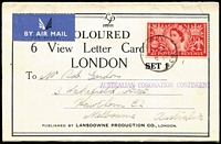 Lot 487:1953 (3 Jun) View Letter Card airmail to Australia with Coronation 2½d tied by indistinct 'FPO' cds alongside fine strike of 'AUSTRALIAN CORONATION CONTINGENT' handstamp. Scarce.