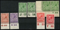 Lot 463 [2 of 2]:1934 Seahorse 2/6d plus selection of KGV Control No. singles. Cat £90+. (9)