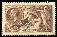 Lot 463 [1 of 2]:1934 Seahorse 2/6d plus selection of KGV Control No. singles. Cat £90+. (9)