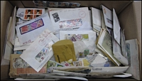 Lot 83:World 1.4kg+ (approx) of on & off-paper in envelopes, etc, with numerous countries represented. (1,000s)
