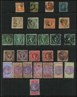 Lot 339 [1 of 2]:1850s-1900 Accumulation incl 1851 Laureate 1d, 3d, 1856 Registered 6d, 1854 Large Diadems imperf 6d grey, brown 1/- (2), few later Diadems, various Revenue stamps to 5/-, 1894-1904 10/- optd 'POSTAGE' in blue, selection of 'OS' opts or perf 'OS/NSW' issues. (Approx 200)