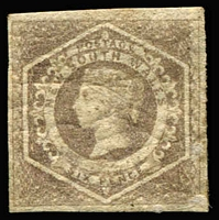 Lot 757:1854-59 Imperf Large Diadems Wmk Double-Lined Numeral 6d grey-brown, Wmk '8' sideways, 4 close to clear margins, original gum, few tone spots. SG #96a, Cat £4,000.