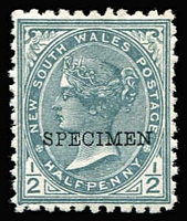 Lot 343 [3 of 3]:1871-1902 9d On 10d 1892-99 ½d grey, 1888-90 6d optd 'OS', all optd 'Specimen' or 'SPECIMEN'. SG #220gs,271s,O42s. (3)