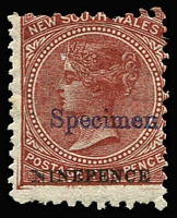 Lot 343 [1 of 3]:1871-1902 9d On 10d 1892-99 ½d grey, 1888-90 6d optd 'OS', all optd 'Specimen' or 'SPECIMEN'. SG #220gs,271s,O42s. (3)