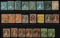 Lot 481 [1 of 3]:Chalon Selection incl 1d (4), 2d (7), 3d, 4d (2), 6d (7), 1/- (2), Very mixed condition plus selection of 1d Universals incl block of 4 & pair, 1990 MUH selection of M/Ss, and few QV Fiscals (20) to £1, also 1949 Great Barrier Island Pigeongram service with 6d (red) & 1/- (blue) reprinted 'triangles' on 1949 16th July commem covers (2) plus special sheet of 6 of 6d (3) & 1/- (3) both in green with gold borders issued by NZ Airmail Society. Mixed condition. (Approx 70 items)