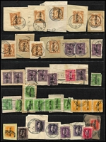 Lot 487 [2 of 4]:QV-QEII Accumulation in cigar box & on several Hagners incl few mint with 1898 1d (30, incl blocks of 8 & 10), 1900 1d (23, incl blocks of 8 & 10), used Officials, various multiples, few Railway stamps, Postage Dues, Revenues, etc. Mixed condition. (100s)