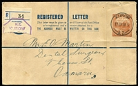 Lot 500 [3 of 3]:Registration Envelopes 1898-1977 Collection incl 1898 3d, 1908 3d, 1936 4d Mitre Peak (2, one used) 1932 'FOURPENCE' on 6d (2, one used), 1952 KGVI 6d EE10a, unused, QE II 9d (2), 1/-, 1/3d, 1/4d on 1/3d, 1/4d (with '6d additional...'), unused, few later, also selection of registered envs for 'WELPEX '72' set of six special pmks with labels, 'PANPEX 77' set of 8 with labels, 1980 Ploughing Exhib (4). (50+)