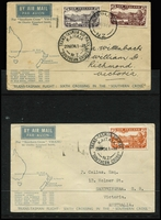 Lot 488 [2 of 3]:1934 (17 Feb) covers to Australia (3) with 'FIRST TRANS-TASMAN/FEB. 1934' cachet each with optd 7d Trans-Tasman stamp affixed and alongside 'AUCKLAND/17FE34/NZ' cds, 1934 (29 Mar) 6th Trans-Tasman Crossing (2 covers, one with errors March 1935 in lieu of '1934' and Oot 1928), 1934 (14 Apr & 2 Jul) NZ to Australia (2 covers each bearing 7d orange airmail and appropriate purple cachets and 'KAITAIA' cds). Generally fine. (7)