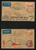 Lot 488 [3 of 3]:1934 (17 Feb) covers to Australia (3) with 'FIRST TRANS-TASMAN/FEB. 1934' cachet each with optd 7d Trans-Tasman stamp affixed and alongside 'AUCKLAND/17FE34/NZ' cds, 1934 (29 Mar) 6th Trans-Tasman Crossing (2 covers, one with errors March 1935 in lieu of '1934' and Oot 1928), 1934 (14 Apr & 2 Jul) NZ to Australia (2 covers each bearing 7d orange airmail and appropriate purple cachets and 'KAITAIA' cds). Generally fine. (7)