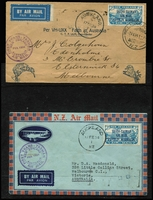 Lot 488 [1 of 3]:1934 (17 Feb) covers to Australia (3) with 'FIRST TRANS-TASMAN/FEB. 1934' cachet each with optd 7d Trans-Tasman stamp affixed and alongside 'AUCKLAND/17FE34/NZ' cds, 1934 (29 Mar) 6th Trans-Tasman Crossing (2 covers, one with errors March 1935 in lieu of '1934' and Oot 1928), 1934 (14 Apr & 2 Jul) NZ to Australia (2 covers each bearing 7d orange airmail and appropriate purple cachets and 'KAITAIA' cds). Generally fine. (7)