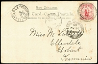 Lot 450 [1 of 5]:1903-05 TPO Selection on PPCs with 'Travelling PO/Inwards/Wellington-Napier' (3), 'Travg PO Thames-Auckd' (2), 'Travg PO Napier' all to Tasmania plus 'Travelling PO Dun Nth' (2) to Dunedin. Views incl 'Maori Beauties', 'Maori Children', 'Carved House, Rotorua'. Minor blemishes. (8)