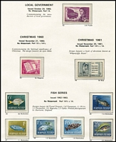Lot 488 [1 of 3]:1947-93 Collection on Seven Seas hingeless pages incl 1960 Local Gov't, 1974 UPU (4 & M/S), 1987 Parrot strip, etc, few extra incl 9 booklets. (Few 100)