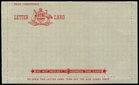 Lot 1374:1949-51 Formular Stationery - Lettercards design similar to Australian 1949-51 2½d lettercard (LC73Aa) with 2½d indicium removed. Unused. Cat $300. ACSC FLC2.