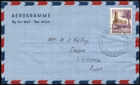 Lot 458 [1 of 2]:Formular Stationery - Aerogrammes: 1954-59 Similar to Australian 1954-59 10d Aerogramme (ACSC A8) with 10d indicium removed and replaced by a blank rectangle and 10d Salt House adhesive affixed, (unused, tiny corner fault), ACSC FA3, also 1959 Design (similar to ACSC A10) CTO to Victoria. ACSC FA4. (2)