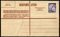 Lot 410 [2 of 3]:Formular Stationery - Lettercards: 1951-53 Design similar to Australian 1951-53 registration envelope (ACSC RE36) with 1/0½d indicium removed. (3, one blank, one with 2/5d on 6½d adhesive, the other with 2/5d flower), all unused. ACSC FR3. Cat $225.