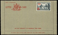Lot 408 [2 of 2]:Formular Stationery: types incl Lettercards (2) 1954 with 5d Birth of P.O. adhesive affixed, unused, and 1960 5d Flower on CTOd to Victoria. ACSC FLCP 3 & 3a (2)