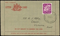 Lot 408 [1 of 2]:Formular Stationery: types incl Lettercards (2) 1954 with 5d Birth of P.O. adhesive affixed, unused, and 1960 5d Flower on CTOd to Victoria. ACSC FLCP 3 & 3a (2)