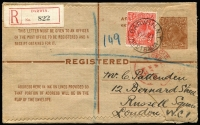 Lot 761 [1 of 2]:1923 KGV 5d brown Registration Envelope ACSC #RE12, inidicium with NE corner damage, uprated with 2d red KGV, and tied by single-ring 'DARWIN.N.T./10AP23/AUSTRALIA' and small part red hooded arrival d/s. Backstamped 'DARWIN'.