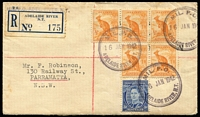 Lot 947 [1 of 2]:Adelaide River Military P.O.: 'MIL. P.O./16 JAN 1942/ADELAIDE RIVER, N.T.' d/r rubber handstamp tying KGVI 3d blue ACSC #195 and irregular block of five ½d orange Kangaroo ACSC #179 to slightly foxed registered envelope with blue 'R.6' label of 'ADELAIDE RIVER/N.T.' additionally handstamped 'MIL.P.O. ADEL. RIVER, N.T.' in violet & addressed to Parramatta. Adhesives conceal pre-printed address of 'Mr. R. Turley, 13 Maddocks Street, FOOTSCRAY. W.11.'.  PO 8/9/1941; closed 3/3/1942.