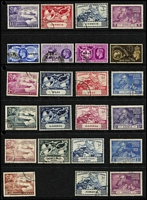 Lot 101 [2 of 2]:1949 UPU: Collection, some in special album, others on Hagners incl Cyprus, Fiji, Hong Kong, Malayan States, Pitcairn Island, etc. Generally fine. (330+)