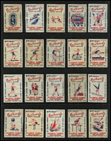 Lot 137 [2 of 6]:Matchbox Labels: Bryant & May 'Redheads' series on 50+ Hagners incl 1956 Melbourne Olympics (2 sets of 40), in sets of 48 with Decimal Currency Conversion, Inventors, Explorers, or sets of 64 incl World Flags (2 sets), Native Flowers, Industries, Birds & Animals, Marine Life, Transport, Veteran Cars, Mythical Gods, etc, plus Garden Flowers (set (?) of 16 and an 'imperf initialled pull' of Flowers Nos 4-8 in strip), 1959 Queensland Centenary Year (32). Many appear very clean and may never have been affixed to a matchbox. Generally extremely fine. (100s)