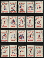 Lot 137 [3 of 6]:Matchbox Labels: Bryant & May 'Redheads' series on 50+ Hagners incl 1956 Melbourne Olympics (2 sets of 40), in sets of 48 with Decimal Currency Conversion, Inventors, Explorers, or sets of 64 incl World Flags (2 sets), Native Flowers, Industries, Birds & Animals, Marine Life, Transport, Veteran Cars, Mythical Gods, etc, plus Garden Flowers (set (?) of 16 and an 'imperf initialled pull' of Flowers Nos 4-8 in strip), 1959 Queensland Centenary Year (32). Many appear very clean and may never have been affixed to a matchbox. Generally extremely fine. (100s)