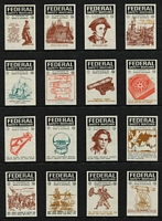 Lot 138 [2 of 8]:Matchbox Labels: on 45+ Hagners incl Federal Safety Match Labels with NSW Towns (42), Military Badges (44), Decimal Currency Conversion (42), Naval Crests (42) Captain Cook (42), Road Safety (42), Australian Match Manufacturing Co., selection, some still attached to boxes, some unfolded boxes, range of 'Duncan's Yacht' (one with Don Bradman), few others incl 'Bridge', 'Captain Cook', 'The Kookaburra' (scarce), 'Nelson & Robertson', 'Syr-reb', 'The Stag', 'The Three Poodles', 'The Lancer' \'The Three Birds', etc. Also several matchbox wrappers. Generally fine. (100s)