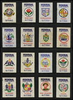 Lot 138 [1 of 8]:Matchbox Labels: on 45+ Hagners incl Federal Safety Match Labels with NSW Towns (42), Military Badges (44), Decimal Currency Conversion (42), Naval Crests (42) Captain Cook (42), Road Safety (42), Australian Match Manufacturing Co., selection, some still attached to boxes, some unfolded boxes, range of 'Duncan's Yacht' (one with Don Bradman), few others incl 'Bridge', 'Captain Cook', 'The Kookaburra' (scarce), 'Nelson & Robertson', 'Syr-reb', 'The Stag', 'The Three Poodles', 'The Lancer' \'The Three Birds', etc. Also several matchbox wrappers. Generally fine. (100s)