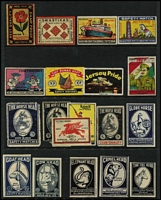 Lot 139 [1 of 8]:Matchbox Labels: world collection on 70+ Hagners incl Austria, Belgium 'Camp' Flags (40), 'Vivo' world views (33), China, Czechoslovakia 1965 Sport (34), Germany 'Rewe' (comical types-64), 'Vege' Coat of Arms (96), Berliner Morgenpost (20), India, Israel 1964 Olympics (18), Netherlands 'Spar' Inventors (52), 'Vlinder' Butterflies (20), Poland, Russia 1964 Olympics (16), Architects (9), Soldiers (16), Zoo (16), Composers (16), Ballet (16), Switzerland 'Usego' (32), Yugoslavia Costumes (20), etc. Many other types. Generally very fine condition. (100s )