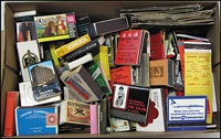 Lot 182:Matchboxes & Matchfolders: selection with many overseas & some Australian types with advertising for airlines, banks, bars, hotels, wines, etc. Some are matchboxes, some are folders. Mixed condition. (100s)