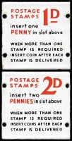 Lot 128 [2 of 3]:Post Office Stamp Vending Machine: metal plates all 72mm x 72mm. Two plates are enamelled on both sides and are reversable, the instructions on how to buy 1d or 2d stamps are on either side, the other plate is stainless steel and is for 3d stamps. (3)