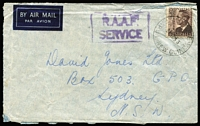 Lot 464 [3 of 5]:1948-53 Australia Used in PNG Group also 3 covers from the same period with 2 R.A.A.F. Concessions and a registered cover to Sydney. Mixed condition. (60 & 3 covers)