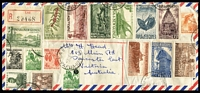 Lot 436 [2 of 3]:1958 (28 Oct) OHMS Airmail Cover with 1d Headdresses strip of 3 and 4d on 2½d Bird block of 6 with 4 strikes of 'KONEDOBU' cds to London, also a similar cover (9 Oct) & 1959 (2 Mar ) cover with 9d Copra (3) to London, all to same addressee and all re-directed to Australia. 1959 (3 Dec ) registered cover to Aust from Lae with 17 stamps incl few 1952-58 issues (12) to 2/6d and 1958 1/7d Cattle & 5/- Coffee, plus few later FDCs. Mixed condition. (13)